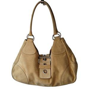 Prada Tan Hobo Suede Semitracolla Vintage Handbag